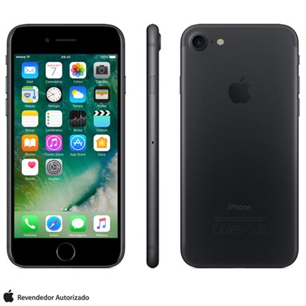 """iPhone 7 Preto Matte com Tela de 4,7"""", 4G, 32 GB e Câmera de 12 MP - MN8X2BR/A, Bivolt, Bivolt, Preto, 0000004.70, True, 1, N, True, True, True, True, True, True, I, iOS, Wi-Fi + 4G, 4.7'', Acima de 4'', A10, 32 GB, 12 MP, 1, Não, Não, Nano Chip, 12 meses"""