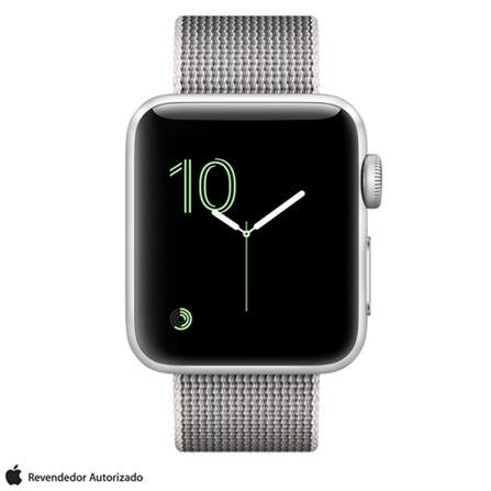 Apple Watch Series 2 Prata com Pulseira de Nylon Perola, 38 mm, Wi-Fi, Bluetooth e 08 GB, Bivolt, Bivolt, Prata, 38 mm, watchOS, Dual Core, 8 GB, Sim, 12 meses