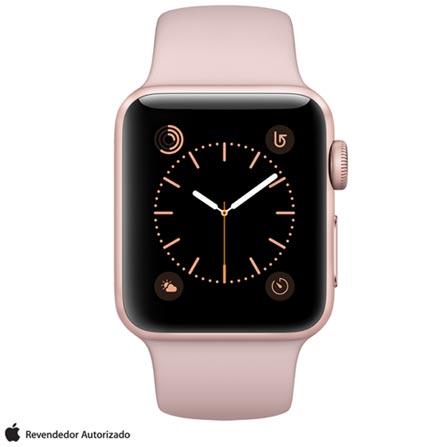 Apple Watch Series 2 Rosa Dourado com Pulseira Esportiva Areia-Rosa, 38 mm, Wi-Fi, Bluetooth e 08 GB, Bivolt, Bivolt, Rosa, 38 mm, watchOS, Dual Core, 8 GB, Sim, 12 meses