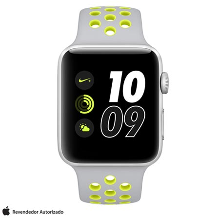 Apple Watch Nike+ Prata com Pulseira Esportiva Prata e Volt, 42 mm, Wi-Fi, Bluetooth e 8 GB, Bivolt, Bivolt, Prata, 42 mm, watchOS, Dual Core, 8 GB, Sim, 12 meses