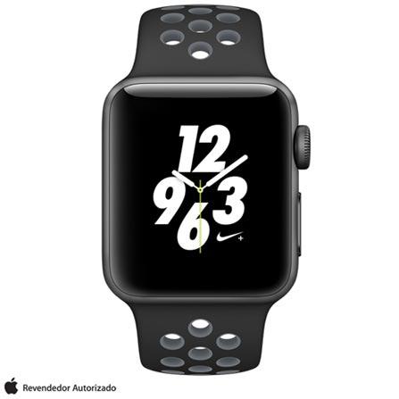 Apple Watch Nike+ Cinza Espacial com Pulseira Esportiva Preta e Cinza Gelo, 38 mm, Wi-Fi, Bluetooth e 8 GB, Bivolt, Bivolt, Cinza, 38 mm, watchOS, Dual Core, 8 GB, Sim, 12 meses
