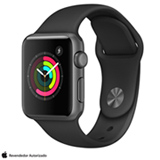 Apple Watch Series 1 Cinza Espacial com Pulseira Esportiva Preta, 38 mm, Wi-Fi, Bluetooth e 08 GB