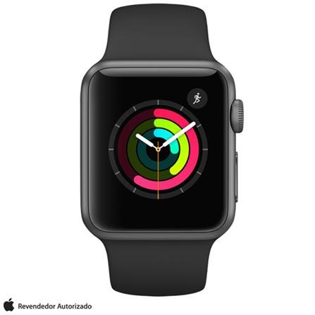 Apple Watch Series 1 Cinza Espacial com Pulseira Esportiva Preta, 38 mm, Wi-Fi, Bluetooth e 08 GB, Bivolt, Bivolt, Cinza, 38 mm, watchOS, Dual Core, 8 GB, Não, 12 meses
