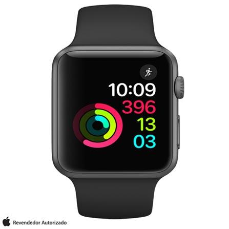 Apple Watch Series 1 Cinza Espacial com Pulseira Esportiva Preta, 42 mm, Wi-Fi, Bluetooth e 08 GB, Bivolt, Bivolt, Cinza, 42 mm, watchOS, Dual Core, 8 GB, Não, 12 meses