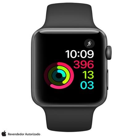 Apple Watch Series 2 Preto-Espacial com Pulseira Esportiva Preta, 42 mm, Wi-Fi, Bluetooth e 08 GB, Bivolt, Bivolt, Cinza, 42 mm, watchOS, Dual Core, 8 GB, Sim, 12 meses