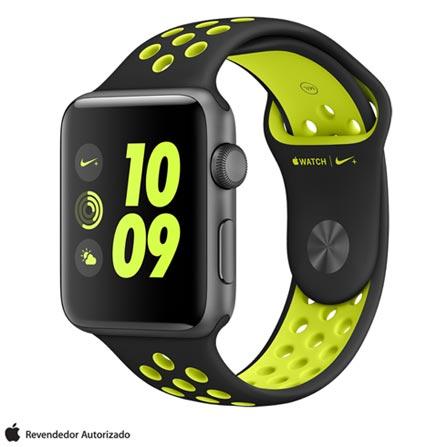 Apple Watch Nike+ Cinza Espacial com Pulseira Esportiva Preta e Volt, 42 mm, Wi-Fi, Bluetooth e 8 GB, Bivolt, Bivolt, Cinza, 42 mm, watchOS, Dual Core, 8 GB, Sim, 12 meses