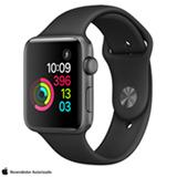Apple Watch Series 2 Cinza-Espacial com Pulseira Esportiva Preta, 38 mm, Wi-Fi, Bluetooth e 08 GB
