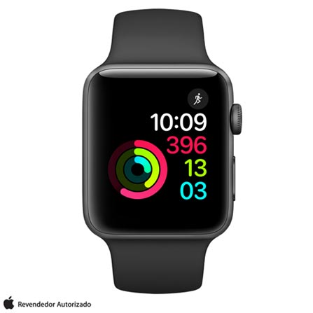 Apple Watch Series 2 Cinza-Espacial com Pulseira Esportiva Preta, 38 mm, Wi-Fi, Bluetooth e 08 GB, Bivolt, Bivolt, Cinza, 38 mm, watchOS, Dual Core, 8 GB, Sim, 12 meses