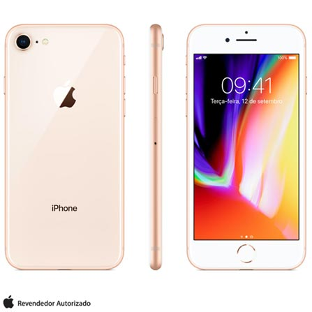 IPHONE 8 DOURADO, COM TELA DE 4,7\U201D, 4G, 256 GB E CâMERA DE 12 MP - MQ7E2BR\/A BIVOLT