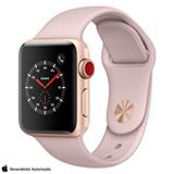 Apple Watch Serie 3 GPS Dourado com Pulseira Esportiva Areia-Rosa, 38 mm, 4G+Wi-Fi, Bluetooth e 16 GB