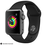 Apple Watch Serie 3 Cinza Espacial com Pulseira Esportiva Preta, 38 mm, Wi-Fi, Bluetooth e 8 GB