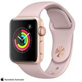 Apple Watch Serie 3 Dourado com Pulseira Esportiva Rosa Areia, 38 mm, Wi-Fi, Bluetooth e 8 GB