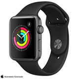 Apple Watch Serie 3 Cinza Espacial com Pulseira Esportiva Preta, 42 mm, Wi-Fi, Bluetooth e 8 GB