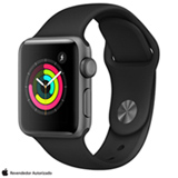 Apple Watch Sport Cinza Espacial com Pulseira Esportiva Preta, 38 mm, Bluetooth e 8 GB