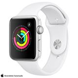 Apple Watch Series 3 Sport Prata com Pulseira Esportiva Branca, 42 mm, Bluetooth e 8 GB