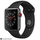 Apple Watch Sport Cinza Espacial com Pulseira Esportiva Preta, 42 mm, Bluetooth, 4G e 16 GB