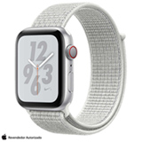 Apple Watch N+ Series 4  Prata e Pulseira Esporte Nylon Cúpula Branca, 44 mm, Wi-Fi+4G, Bluetooth e 16GB