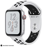 Apple Watch  N+ Series 4 Prata e Pulseira Esporte Prata e Preto, 44 mm, Wi-Fi+4G, Bluetooth e 16GB