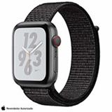 Apple Watch Series 4 N+ Cinza Espacial GPS Alumínio e Pulseira Esporte em Nylon Preta, 44 mm, Wi-Fi+4G, Bluetooth e 16GB