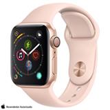 Apple Watch S4 Dourado GPS em Alumínio e Pulseira Esportiva Areia Rosa, 40 mm, Wi-Fi, Bluetooth e 16GB - MU682BZ/A