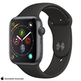 Apple Watch S4 Sport Cinza Espacial com Pulseira Esportiva Preta, 44 mm, Wi-Fi, Bluetooth e 16 GB