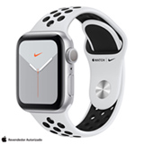Apple Watch Series 5 Prata com Pulseira Nike Sport Band Preto, 40mm, Bluetooth e 32 GB