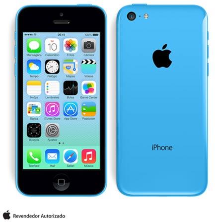 iPhone 5c Azul com 32GB, Processador A6, iOS 7, Câmera de 08 MP, Display de 4