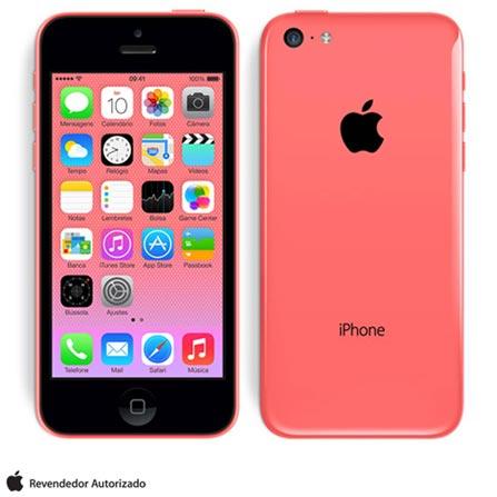 iPhone 5c Rosa com 32GB, Processador A6, iOS 7, Câmera de 08 MP, Display de 4