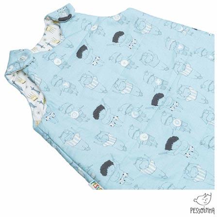 Saco de Dormir Pessoinha Príncipes Azul, Azul, Algodão e Poliéster, 03 meses