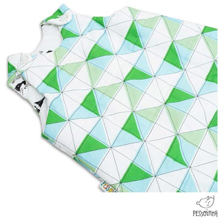 Saco de Dormir Pessoinha Rabisco Mosaico Verde, Verde, Algodão e Poliéster, 03 meses