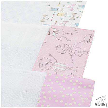 Kit de Panos de Boca Princesas Rosa - Pessoinha, Rosa, Algodão, 03 meses