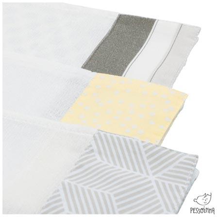 Kit de Panos de Boca Rabisco Gelo e Amarelo - Pessoinha, Amarelo, Algodão, 03 meses