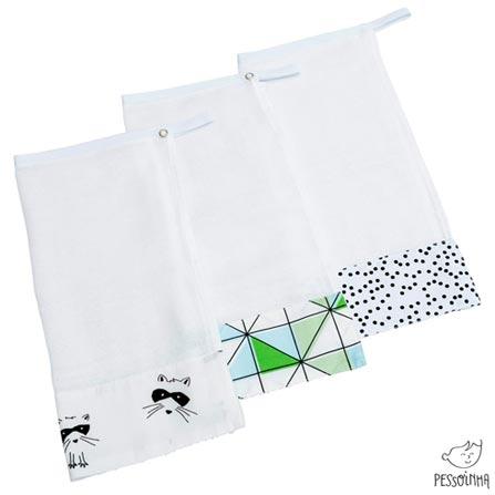 Kit de Panos de Boca Fauna Preto, Branco e Verde - Pessoinha, Verde, Algodão, 03 meses