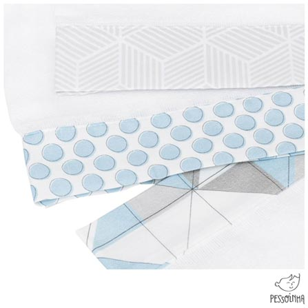 Kit de Fraldas Pessoinha Rabisco Azul e Gelo, Azul, Algodão, 03 meses
