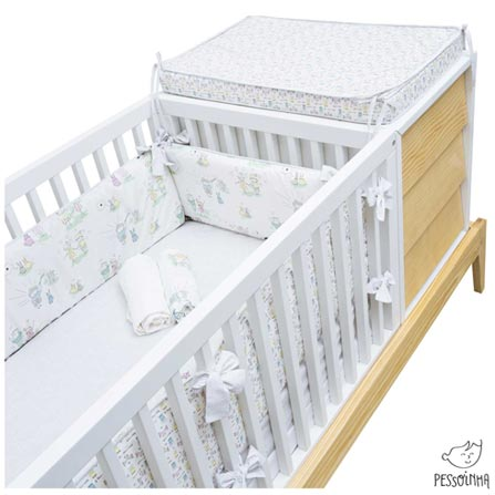 Kit Berço com Protetor Alto e 03 Lençóis Princesas Branco e Rosa - Pessoinha, Branco e Rosa, 8, 03 meses