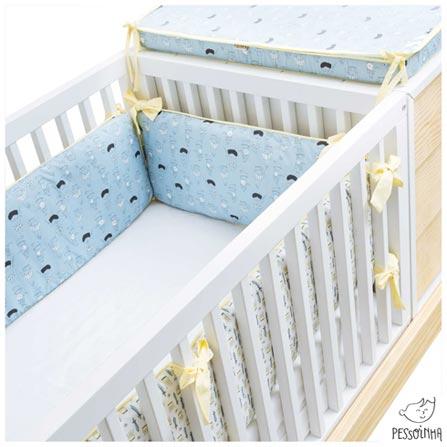 Kit Berço com Protetor Alto e 03 Lençóis Príncipes Branco e Azul - Pessoinha, Branco e Azul, 8, 03 meses