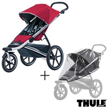 Carrinho de Bebe Urban Glide Vermelho - Thule - 10101904 + Capa de Chuva para Carrinho Infantil Transparente - Thule, 0