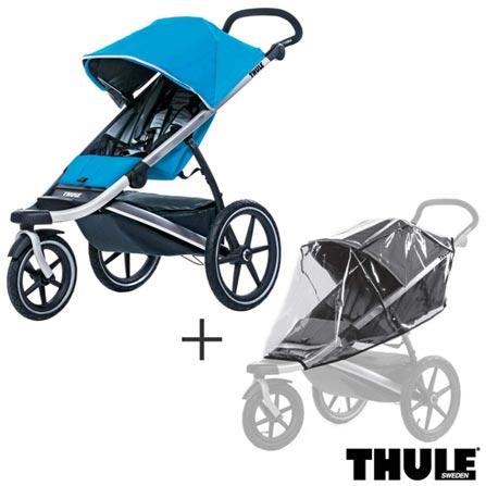 Carrinho de Bebe Urban Glide Azul - Thule - 10101905 + Capa de Chuva para Carrinho Infantil Transparente - Thule, 1