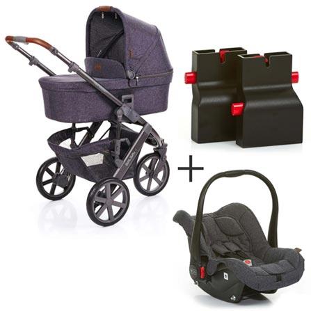 527cfe409 Carrinho de Bebê Salsa 3 Style Azul + Adaptador Risus Preto + Bebê ...