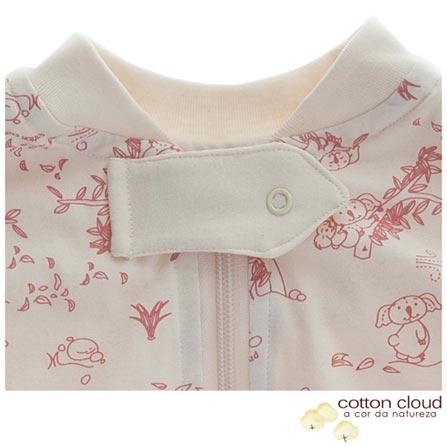 Saco de Dormir Cotton Cloud Verão Tamanho P Coala Rosa, Bege e Rosa, Algodão, 03 meses