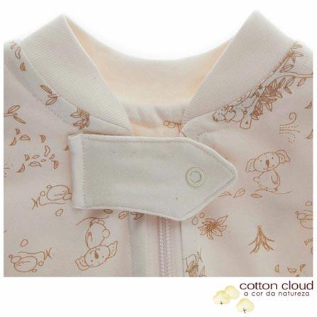Saco de Dormir Verão Tamanho P Coala Marrom - Cotton Cloud, Bege e Marrom, Algodão, 03 meses