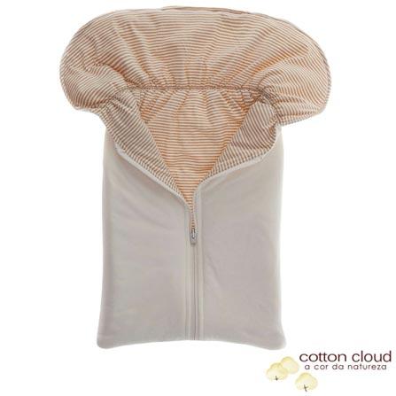 Porta Bebê Cotton Cloud Listrado Bege e Marrom, Bege e Marrom, Algodão e Poliéster, 03 meses