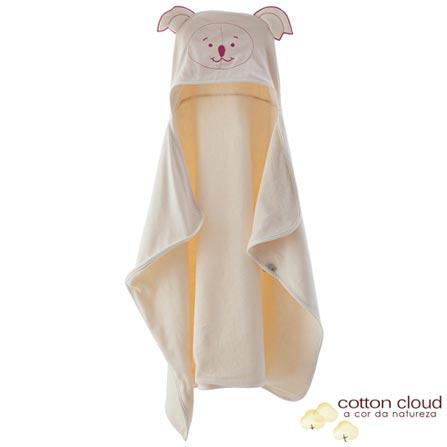 Toalha de Banho com Capuz Bordada Coala Bege - Cotton Cloud, Bege e Rosa, Bebês, Algodão e Poliéster, 1, Sim, 03 meses