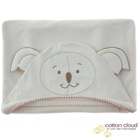 Toalha de Banho com Capuz Bordada Coala Bege - Cotton Cloud, Bege, Bebês, Algodão e Poliéster, 1, Sim, 03 meses