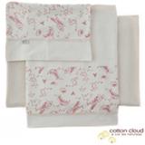 Jogo de Lençóis para Berço Cotton Cloud Coala com 03 Peças Cru e Rosa