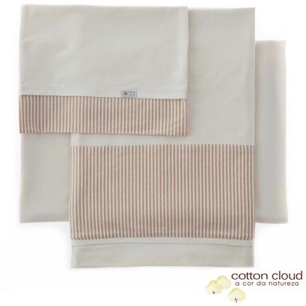 Jogo de Lençóis Cotton Cloud para Berço com 03 Peças Cru Listrado, Bege, Berço, 03 Peças, Algodão, Não, 03 meses
