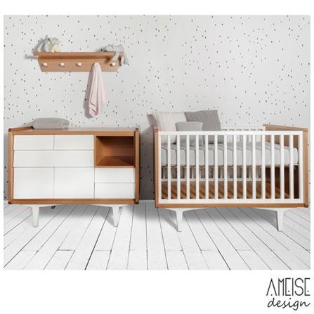 Comoda Farm com 07 Gavetas Branca - Ameise Design, MDF, 12 meses