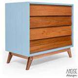 Comoda Rio com 04 Gavetas Azul e Jequitiba - Ameise Design