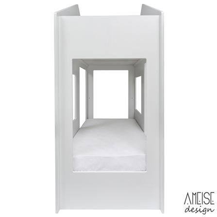 Cama Solteiro Cafofo Branco - Ameise Design, Madeira e MDF Pintado, Madeira e MDF pintado, Madeira, 80 kg, Não, 12 meses
