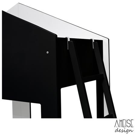 Cama Solteiro Cafofo Lousa Preta e Branca - Ameise Design, MDF, MDF, MDF, 80 kg, Não, 12 meses